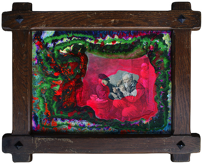 Wyrastają jak grzyby po deszczu akryl na wydruku na płycie pilśniowej w subtelnej ramie, 55 x 45 cm 2014