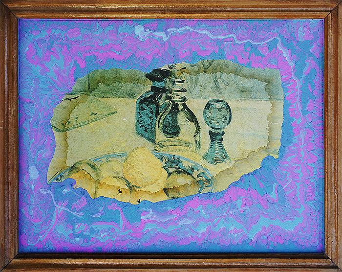 Martwa natura z soków trawiennych akryl i technika mieszana na starym wydruku na płycie pilśniowej, w drewnianej ramie, 41 x 32 cm 2014