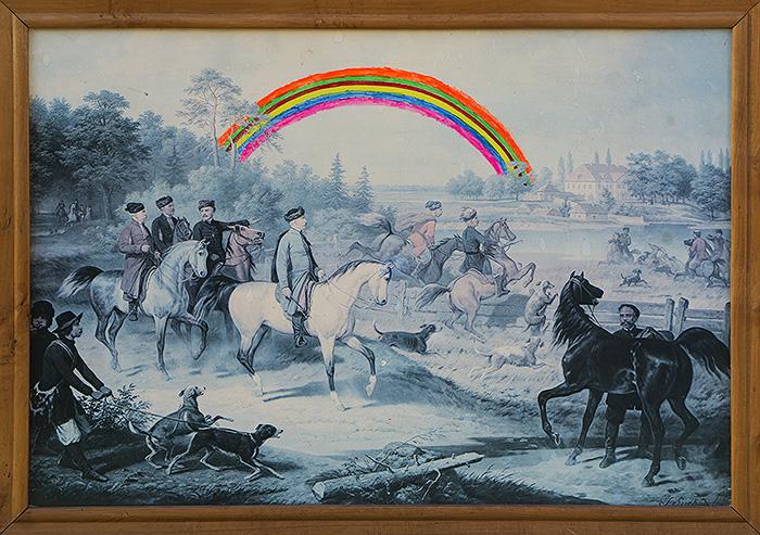Udane polowanie akryl na starym druku na płycie pilśniowej, 60 x 42 cm 2014