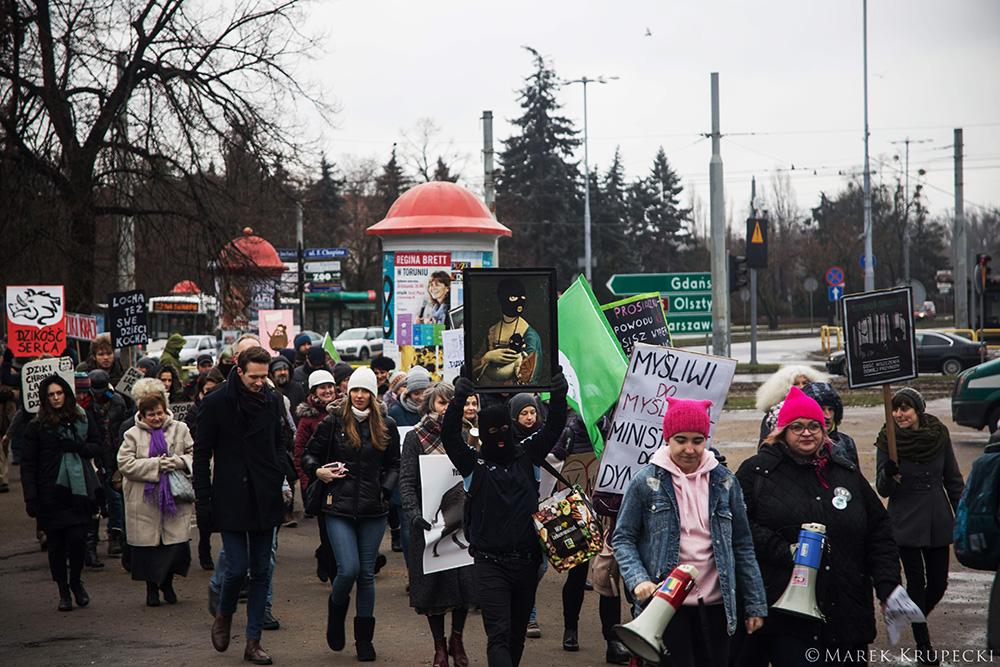 Protest przeciw rzezi dzików! #jestemzdzikiem Toruń, 12.01.2019, fot. Marek Krupecki
