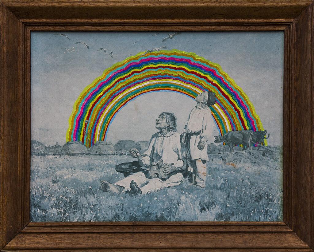 Tęcza z bocianami Chełmońskiego / Rainbown with Chełmoński's storks