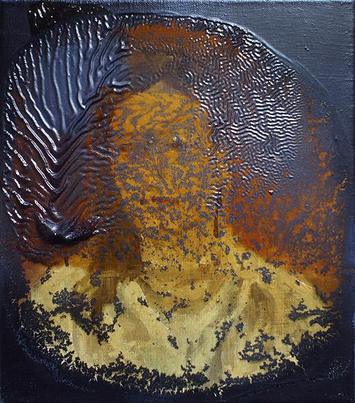 Wyciek bezczelności / Wyrywanie chwastów olej na oleju na płótnie, 40 x 45 cm 2013