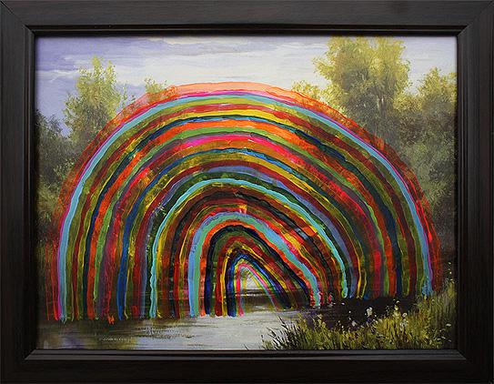Tęcza nad jeziorem akryl na nadruk na płycie pilśniowej, 30 x 25 cm 2013