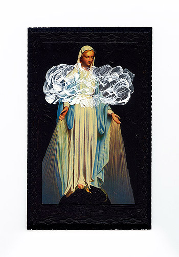 Parasite – Saint Mary, acryl on picture on beaverboard, 15 x 21cm, 2014