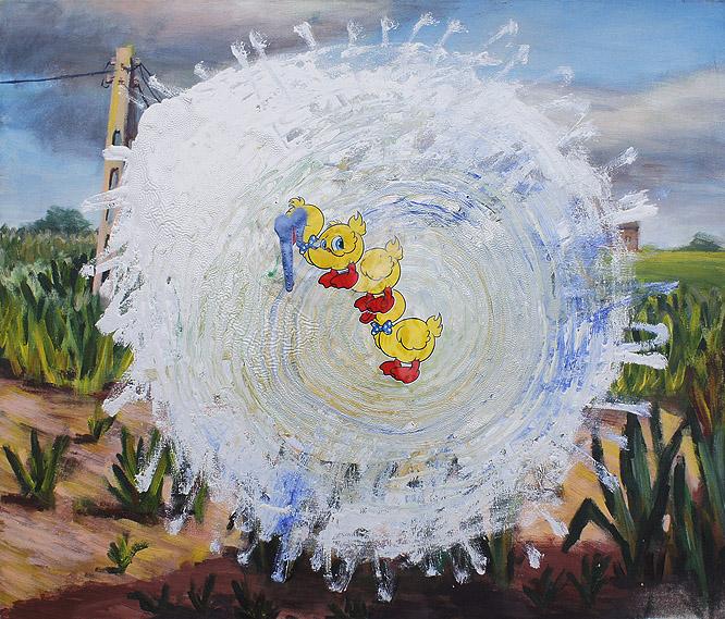 Bez tytułu jest jednak krajobraz ze zwierzętami akryl na olej na płótnie, 55 x 40 cm 2013