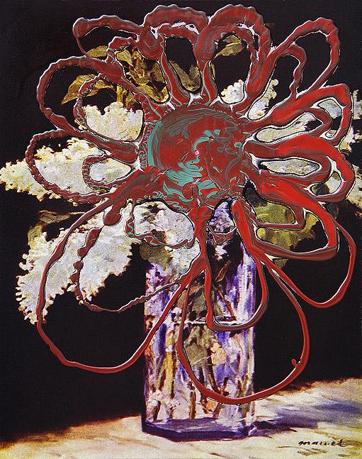 Flower power acryl on print on canvas, 50 x 40 cm 2013