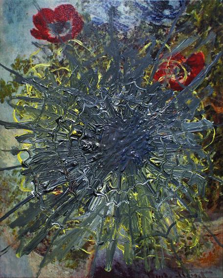 Obfita pajęczyna akryl na płycie pilśniowej, 45 x 30 cm 2013
